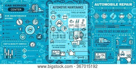 Car Maintenance, Repair Service Vector Infographics. Car Engine Repair, Diagnostics And Maintenance