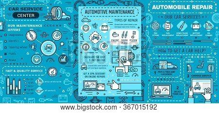 Car Maintenance, Repair Service Vector Infographics. Car Engine Repair, Diagnostics And Maintenance