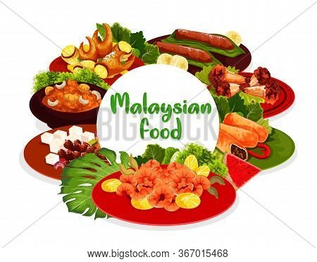 Malaysian Cuisine Food Menu Vector Round Banner. Fried Shrimps, Pies Baked With Meat And Grilled Chi