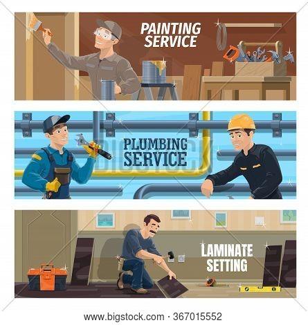 Plumber, Painter And Laminate Flooring Installer Workers. Plumber Repairing A Pipeline, Stacker Layi