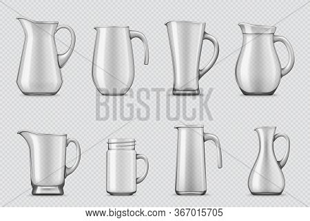 Glass Jugs And Pitchers 3d Realistic Vector Set. Various Size And Shape, Empty Pitchers With Handle