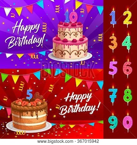 Birthday Cake With Numbered Candles Greeting Card Vector Template. Anniversary Party Chocolate Desse