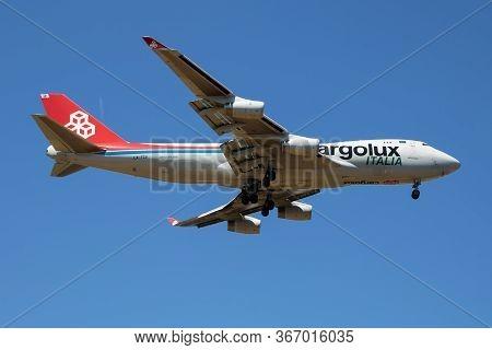 Findel - Luxembourg / July 8, 2018: Cargolux Italia Boeing 747-400 Jumbo Jet Lx-tcv Cargo Plane Arri