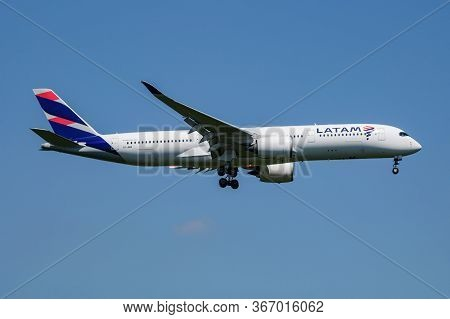 Munich / Germany - July 18, 2017: Latam Brasil (qatar Airways) Airbus A350-900 A7-ama Passenger Plan