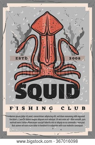 Retro Poster With Squid For Fishing Club Design. Huge Vector Calamary On Ocean Bottom With Seaweeds,