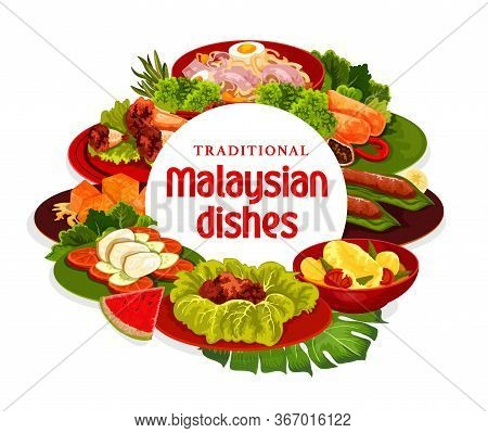 Malaysian Cuisine Dishes Vector Banner. Meat Stew, Fish Curry And Banana Dessert, Meat Pies, Noodle