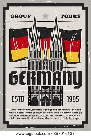 Travel To Germany Vector Poster. Cologne Cathedral And National Flag. German City Tour To Famous Lan