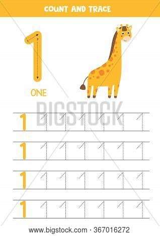 Numbers Tracing Practice. Writing Number One. Tracing Worksheet With One Cute Giraffe. Ready For Pri