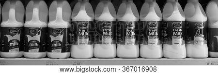 Dubai Uae December 2019 Milk Bottles Arranged On Shelves For Sale. Variety Of Sizes. Also Present Fl