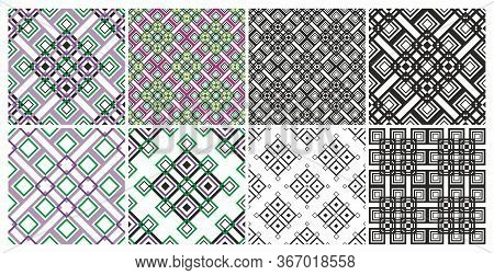 Set Of Geometric Seamless Patterns. Seamless Geometric Pattern. Vector Abstract Classical Background