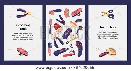 Set Templates Cards, Tag, Instruction, Assurance. Dog And Cat Grooming Equipment Vector Flat Illustr