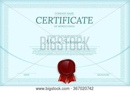 Certificate Of Appreciation Color Vector Template. Diploma Layout With Text Space. Luxury Graduation