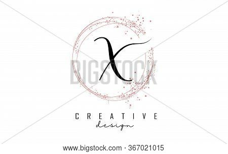 Sparkling Circles And Dust Pink Glitter Frame For Handwritten X Letter Logo. Shiny Rounded Vector Il