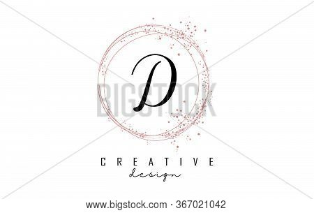Sparkling Circles And Dust Pink Glitter Frame For Handwritten D Letter Logo. Shiny Rounded Vector Il