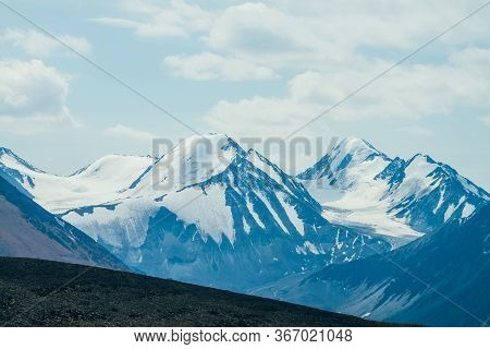 Awesome Colorful View From Stony Hill To Giant Glacial Mountain Range. Atmospheric Alpine Landscape