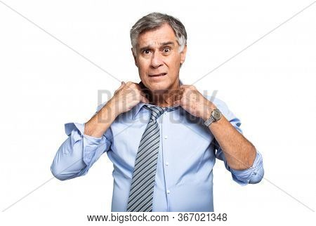 Senior manager suffering hot climate isolated on white
