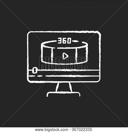 360 Degree View Video Chalk White Icon On Black Background. Virtual Reality Footage Streaming. Panor