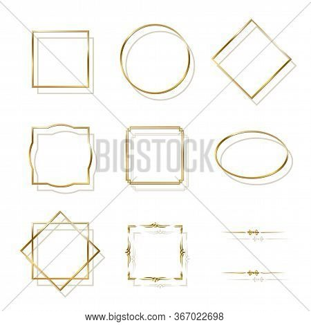 Golden Shiny Frames With Shadows Isolated On White Background. Vector Golden Luxury Realistic Border