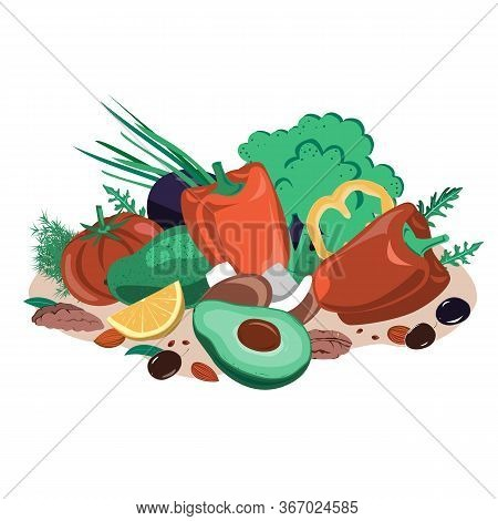 Vegetables, Seeds, Mushrooms, And Nuts Composition. Healthy Food Vector Illustration. Fasting Mimick