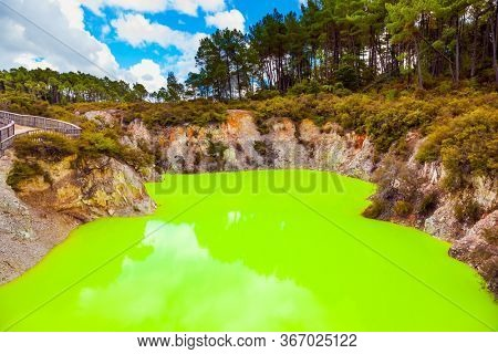 Wai-O-Tapu, Devil's Bath. Volcanic Valley Waimangu. The unique geothermal area of Rotorua. Place where hell appears on earth. New Zealand, North Island. Extreme, exotic and photo tourism concept