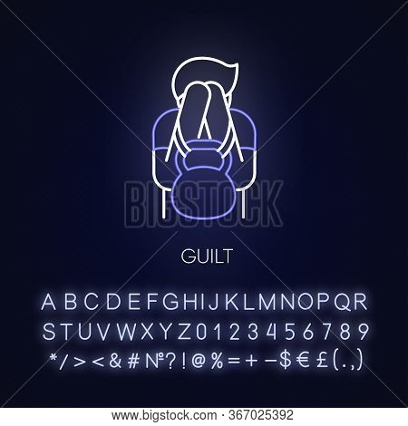 Guilt Neon Light Icon. Man Feeling Ashamed. Mental Health Issue. Heavy Weight Of Self Blame. Outer G
