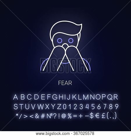 Fear Neon Light Icon. Human Phobia. Panic Attack. Anxiety Disorder. Psychological Therapy. Outer Glo