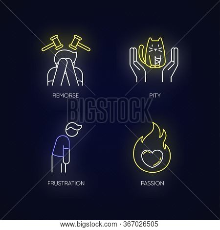 Human Emotion Neon Light Icons Set. Remorse For Psychological Healing. Feeling Of Pity And Empathy.