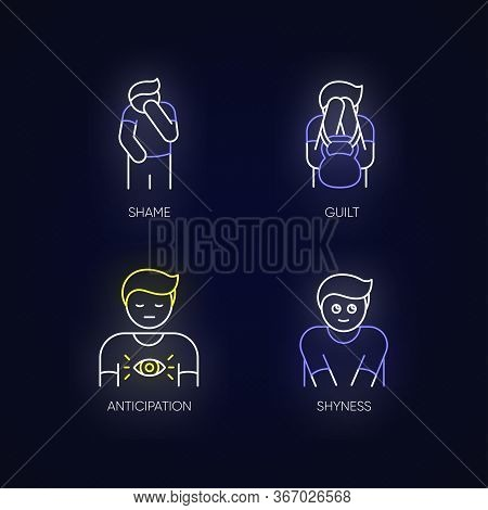 Human Behaviour Neon Light Icons Set. Feeling Of Shame. Man With Self Blame. Social Emotion Of Guilt