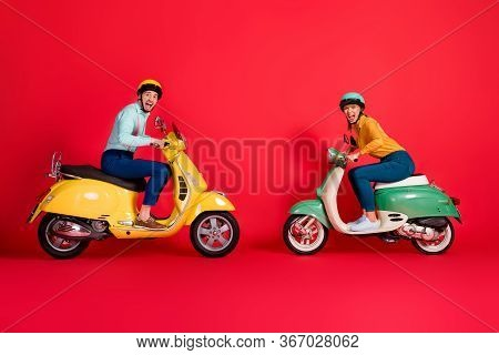 Profile Side View Of Nice Attractive Crazy Ecstatic Overjoyed Cheerful Cheery Couple Driving Moped O