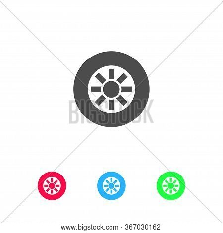 Tire Icon Flat. Color Pictogram On White Background. Vector Illustration Symbol And Bonus Icons
