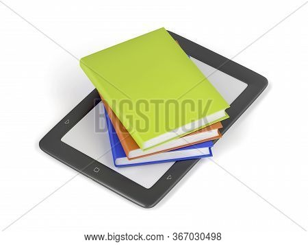 Stack Of Colorful Books On Electronic Book Reader On White Background, 3d Illustration