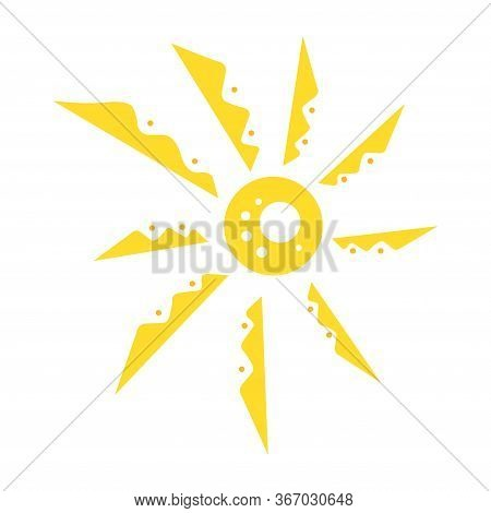 Cute Funny Sun Icon. Bright And Beautiful Cartoon Character. Abstract Yellow Sun Shape. Hand Drawn D