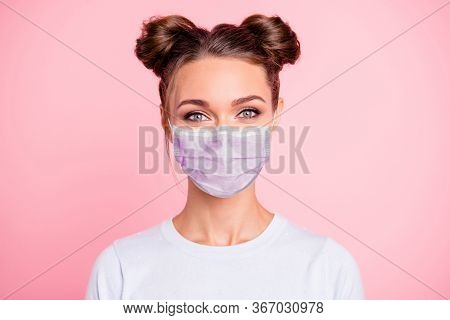 Close-up Portrait Of Her She Nice Attractive Lovable Cute Adorable Winsome Girl With Two Buns Wear W