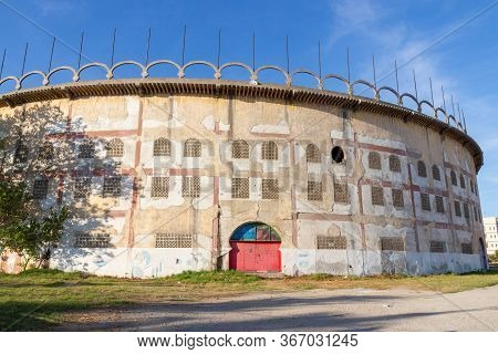 Exterior Of Closed Bullring Of Tangier Also Known As The Plaza De Toros, Morocco. Important Piece Of