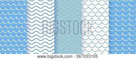 Wave Seamless Pattern. Vector. Blue Wavy Background. Set Marine Textures. Simple Illustration. Sea G