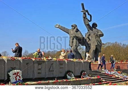 Riga, Latvia - 9 May 2020: Victory Day (9 May) Celebration. Victory Day Is A Holiday That Commemorat