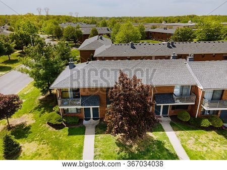 Panoramic View Of Neighbourhood Over Suburban Homes In Residential Area With Brooklyn New York Ny