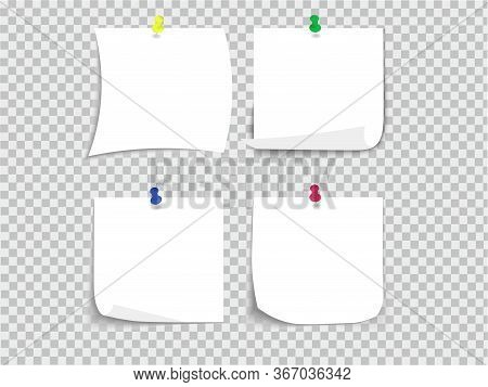 Stationery, White Sheets Of Paper On A White Background With Curved Edges And A Shadow On The Edges