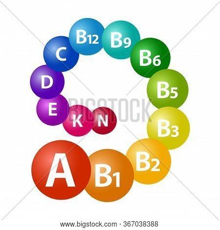 Vitamine Set. Multivitamin Complex For Health A, B1, B2, B3, B5, B6, B9, B12, C, D, E, K, N. Rainbow