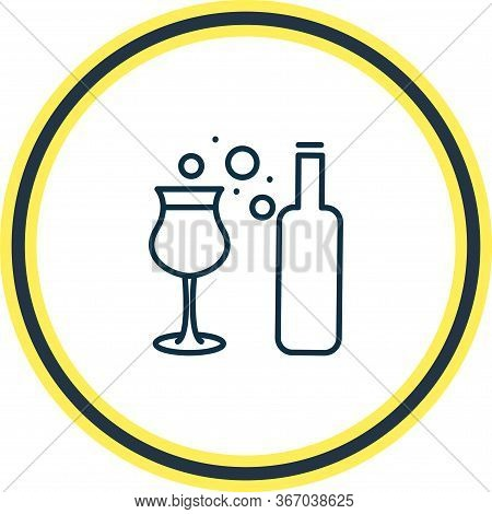 Vector Illustration Of Dessert Wine Icon Line. Beautiful Drink Element Also Can Be Used As Aperitif
