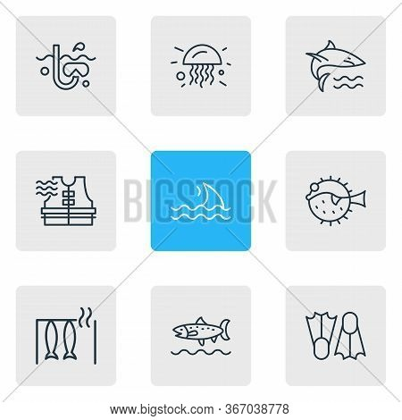 Vector Illustration Of 9 Sea Icons Line Style. Editable Set Of Trout Fish, Flippers, Fin And Other I
