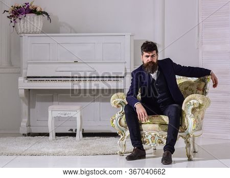 Man With Beard And Mustache Wearing Classic Suit, Stylish Fashionable Outfit. Macho Attractive And E