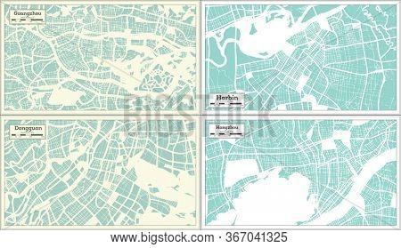 Harbin, Dongguan, Hangzhou and Guangzhou China City Maps Set in Retro Style. Outline Map.