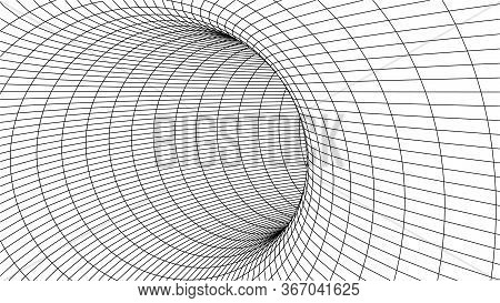 Technology Wireframe Tunnel On White Background. Futuristic 3d Grid.