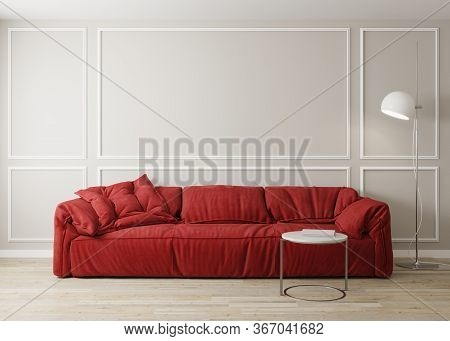 Stylish Interior Of Bright Living Room With Red Sofa And Coffee Table With Decoration. Living Room I