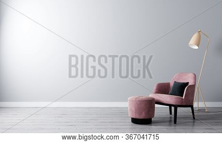 Bright Room With White Wall And Moderm Furniture In Scandinavian Style For Mockup. Living Room For M