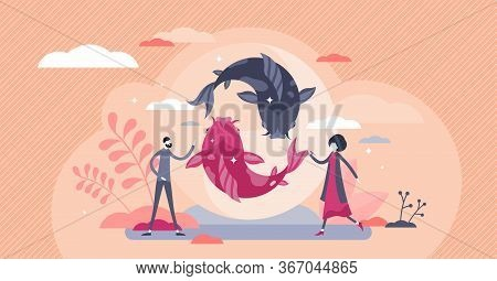 Koi Fish Vector Illustration. Asian Culture Element Flat Tiny Persons Concept. East Spiritual Wisdom
