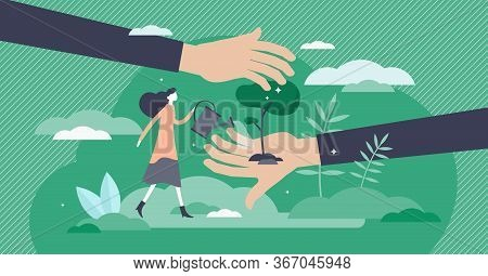 Save Planet Vector Illustration. Tree Planting Flat Tiny Persons Concept. Forestation As Environment