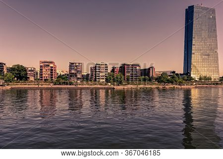 Frankfurt,germany - May 16,2020:main The Big Skyscraper Is The Office Building Of The European Centr
