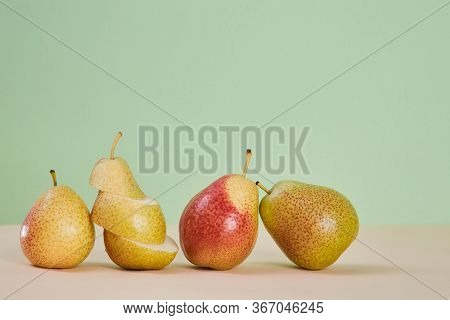 Ripe Pears And Slices. Mellow Summer Fruit. Eco-friendly Food. Diet. Copy Space For Text. Pastel Gre